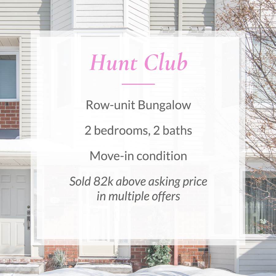 Sold card for Hunt Club row-unit bungalow